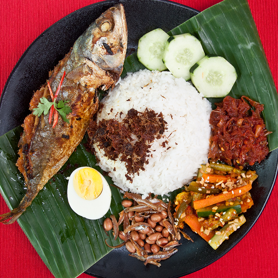 nasi lemak with sambal mackerel