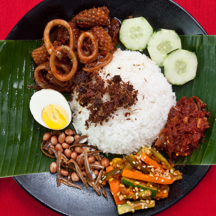 nasi lemak with sambal squid