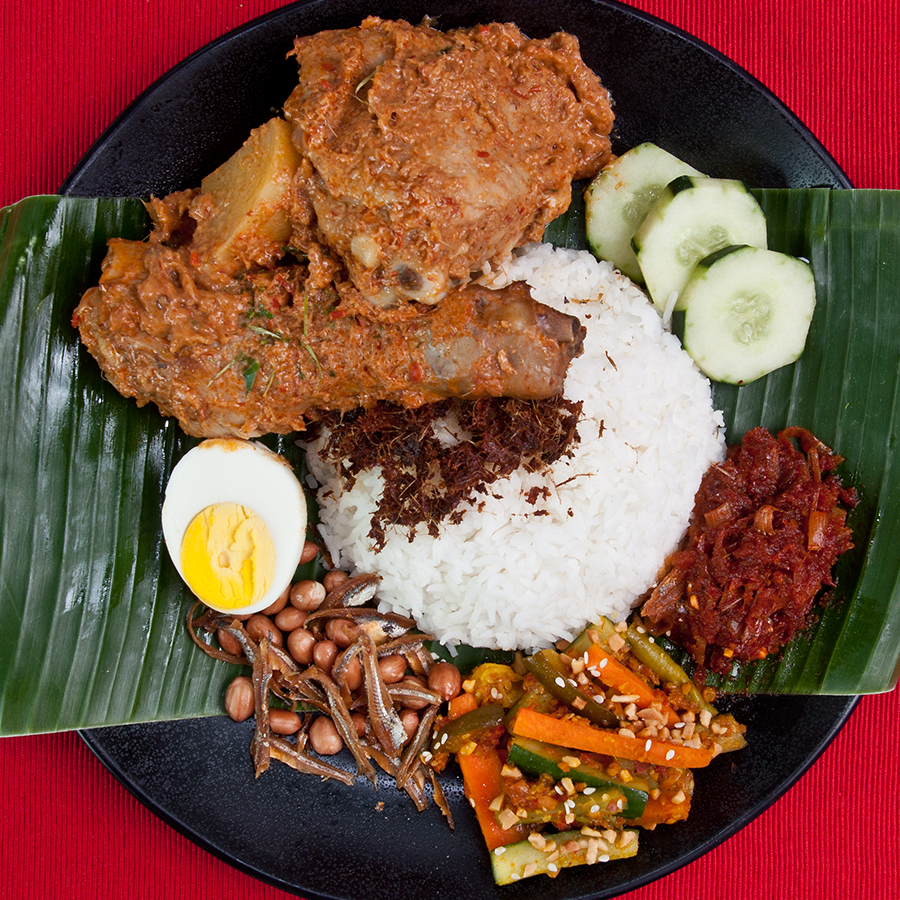 nasi lemak with kapitan curry chicken